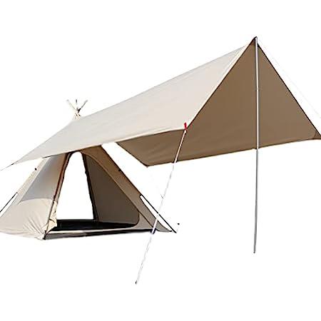 Titoge防水タープ キャンプ タープ テント 軽量 日除け 高耐水加工 紫外線カット 遮熱 サンシェルター ポータブル 天幕 シェード アウトドア 収納ケース付防水布綿布はキャンプファイヤーにすることができますポリコットンTC耐火断熱/耐火性/耐水性 日よけ屋外 (クリーミーホワイト