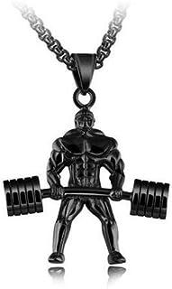 الرجال الاثقال قلادة قلادة المجوهرات هدية- أسود