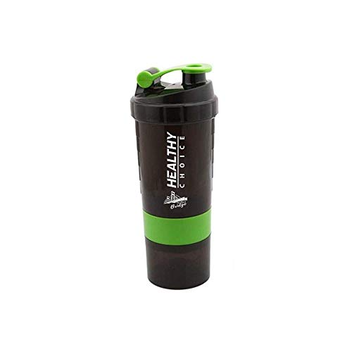The Best Bridge 3 in 1 Protein Shaker Sport Fitness Gym Drinking Water Bottle, 500ml, 16oz, 316 Stainless Steel Mixing with Plastic Holder. 3 Compartment Pill Box with 200gr Protein Powder Container.