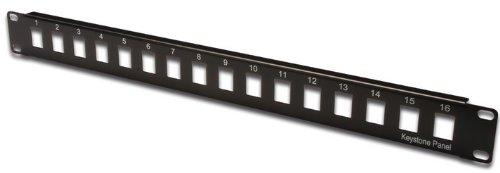 DIGITUS Patch Panel Modular - 16 Ports - 1U - Non blindé - pour modules Keystone - 19 inch Rack - Noir