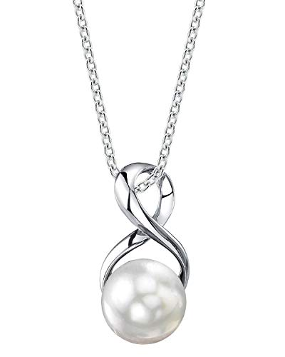 THE PEARL SOURCE 9-10mm Genuine White Freshwater Cultured Pearl Infinity Pendant Necklace for Women