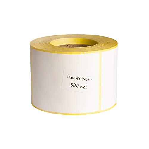 MDlabels Etiquetas térmicas en rollo, 58 x 60 mm, 500 unidades, manguito de 40 mm, adhesivo permanente para códigos de barras