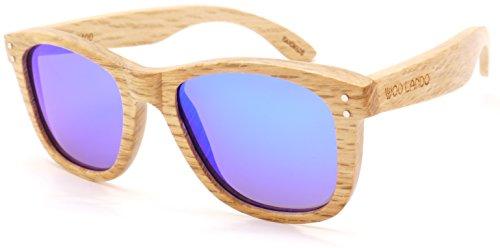 Sky Spy Unisex zonnebril, echt hout, gespiegeld, hemelsblauw en gepolariseerd