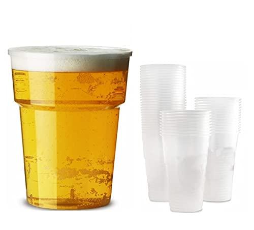 Earth and Wear - Vasos de plástico (568 ml, con marcado CE, 600 unidades, 600 vasos de plástico para pinta, 600 unidades)