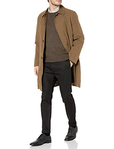 LONDON FOG Men's Durham Single Breasted Rain Coat with Zip-Out Liner, British Khaki, 50