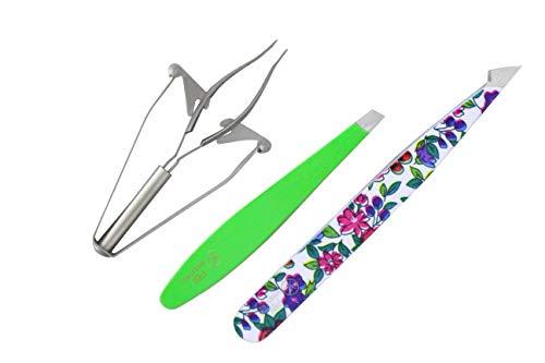 SMI - 3 Pcs automatische Augenbrauenpinzette Präzisionspinzette schräge Spitze Haarpinzette Haarentfernung rostfreier Stahl
