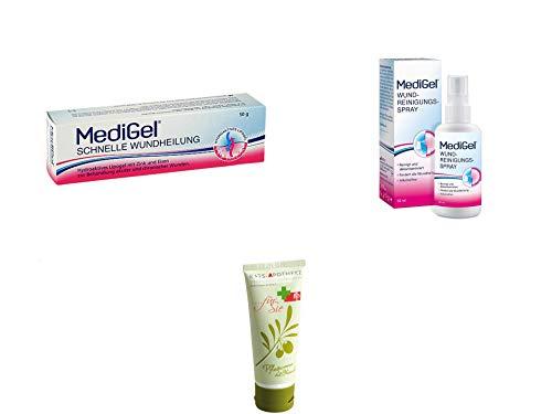 MediGel Wundversorgungs-Set Groß - Schnelle Wundheilung 50 g & Wundreinigungsspray 50 ml Inkl. GRATIS Rats-Apotheke Olivenöl Pflegecreme