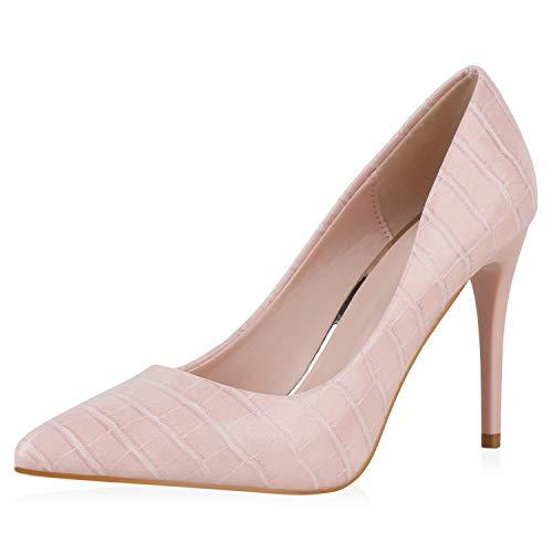 SCARPE VITA Damen Pumps High Heels Kroko Lack-Optik Stiletto Abendschuhe Elegante Schuhe 195495 Rosa Kroko 37