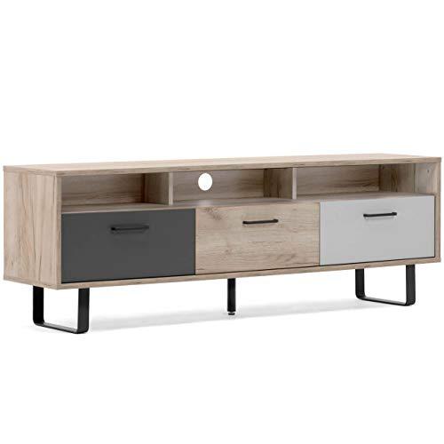Wohnclub Lowboard Hip braun 160 cm breit, TV-Board in Eiche Optik, Industrial Look, Fernsehtisch mit 3 mehrfarbigen...