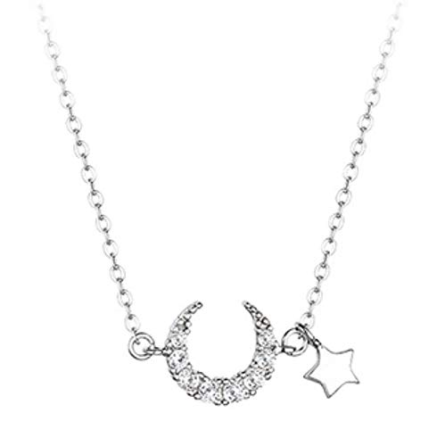 Bluesteer Collar de circonita con Luna de Plata de Ley 925, Colgante de Estrella Brillante para Mujer, Fiesta de Compromiso, Regalo de cumpleaños, joyería Dulce, Platino, 40 cm