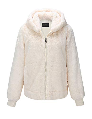 Giolshon Chaqueta de Piel sintética para Mujer, Abrigo con Capucha 1712014 Beige M
