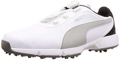 PUMA Drive Fusion DISC Herren Low Boot Golfschuhe Weiss-Grau Violett, Größenauswahl:40