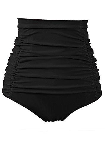COCOPEAR Women's Ruched High Waisted Bikini Bottom Retro Vintage Swim Short Tankinis (FBA) Black L/8-10