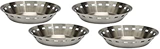 THW Stainless Steel Round Shaped Bread Basket Roti Chapati Naan Tokri, Pack of 4 Pieces