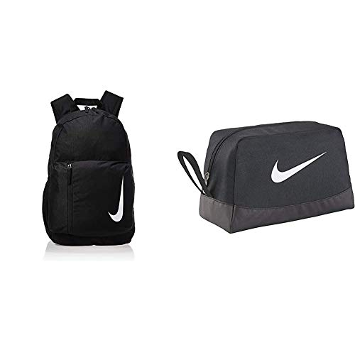 Nike Academy Team Fußballrucksack, Black/Black/White, One size & Rucksack Club Team Swsh Toiletry, schwarz (Black/White), 27 x 16 x 16 cm, BA5198-010