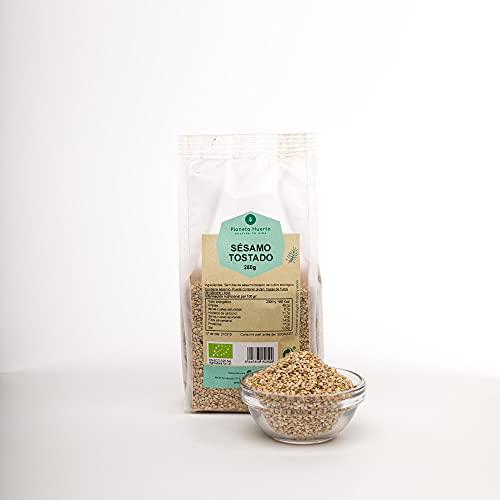 Planeta Huerto   Semillas de Sésamo Tostado Ecológico - 250 gr   Alimentos Orgánicos, Biólogicos, Naturales   De Alto Valor Nutricional Para Recetas de Cocina Saludable, Desayunos o Meriendas