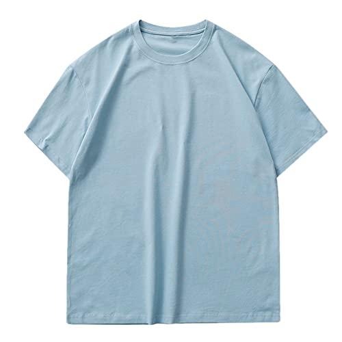 Camiseta de hombre suelta color sólido hombro caída camiseta de manga corta de los hombres