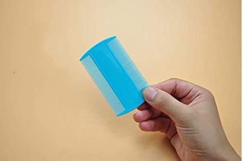 Fournitures pour animaux domestiques Peigne à dents double en plastique à dents anti-puces Peigne pour chien Pince à épiler Bleu clair