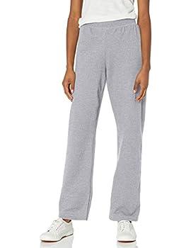 Hanes womens ComfortSoft EcoSmart Women s Petite Open Bottom Leg Sweatpants Light Steel Large Petite