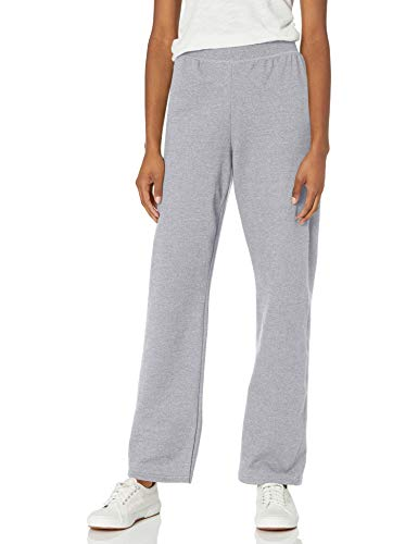 Hanes womens ComfortSoft EcoSmart Women#039s REGULAR Open Bottom Leg Sweatpants Light Steel Small