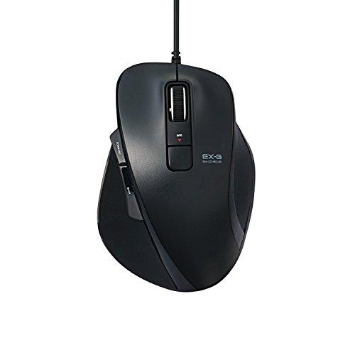 エレコム 有線マウス BlueLED 5ボタン Lサイズ ブラック M-XG2UBBK