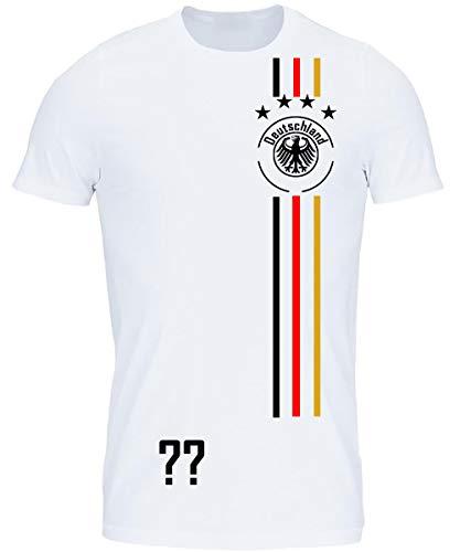 myfashionist T-Shirt Fußball Trikot WM/EM Deutschland Trikot mit Streifen in Verschiedene Grössen für Jungen Mädchen und Erwachsene mit Wunschname UND Wunschnummer (Weiß, 110/116)