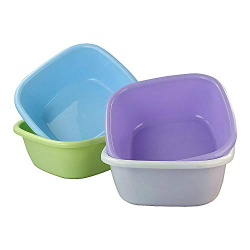 Rinboat Colorful Washing Basins Plastic Dish Pan Square Wash Bowls, Blue, Green, Purple, White, Pack of 4