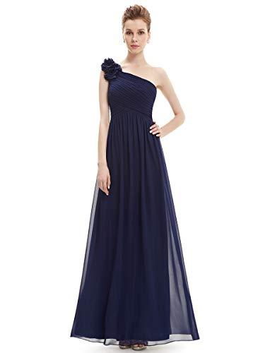 Ever-Pretty Vestito da Cerimonia Donna Chiffon A Fiori Una Spalla Stile Impero Senza Maniche Blu Navy 46