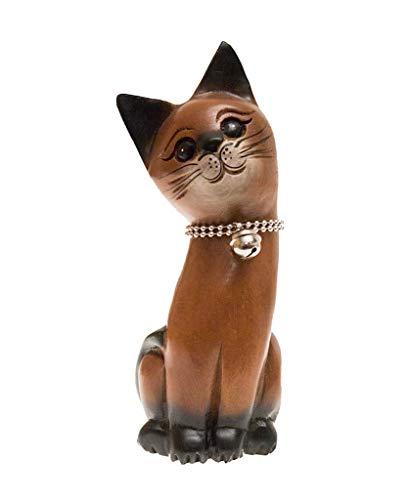 ROMBOL Katze, sitzend, Links, Holz, Holzfigur, Deko, Dekoration, Dekofigur, Holzdeko, Skulptur, braun
