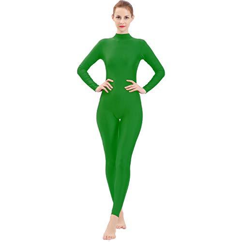 Gaibest Adult High Neck Zip One Piece Unitard Full Body Leotard Unisex for Dancewear green