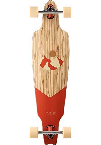 TITUS Rod Mountain Longboard, Brick, 10, Jugendliche und Erwachsene, Holzboard aus 8 Lagen Ahornholz, Cruising, Carving, Longboard mit Fahrspaß