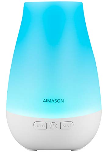 AIMASON 3rd Version 180ML Essential Oil Diffuser, BPA-Free Ultrasonic Aroma Diffuser Humidifier with Adjustable Mist Mode and Waterless Auto Shut-off for Home, Office, Bedroom Upgraded