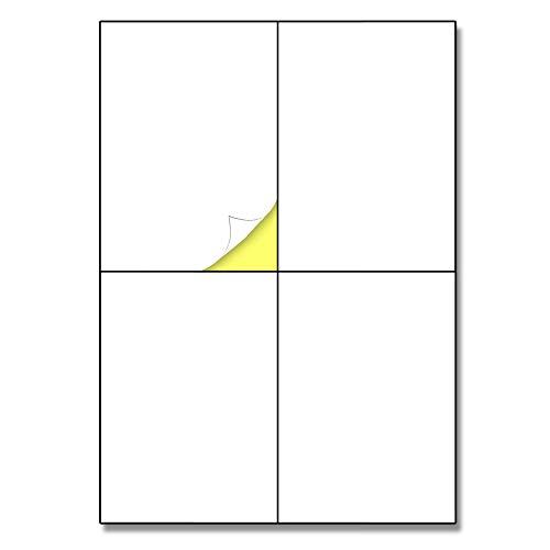 148.5 x 105 mm (A6), 25 hojas, A4 Etiqueta Adhesiva Blanca Pegatina - 4 etiquetas por hoja