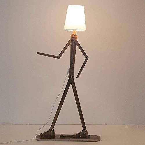 WLGQ Lámparas de pie, iluminación Interior, luz de pie, Creativas lámparas de pie de Madera para Bricolaje, lámpara de pie de Tela de Madera nórdica para Sala de Estar, Dormitorio, Estudio, ilumi