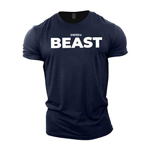 GYMTIER Beast T-shirt de bodybuilding pour homme - Bleu - Medium