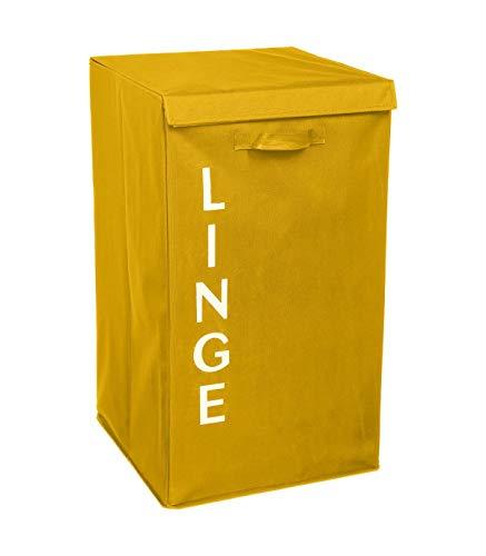 Five - Panier à Linge avec anses Jaune écriture Blanche H 63 cm