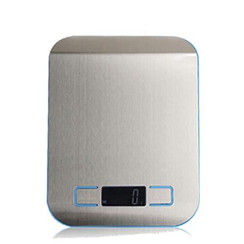 QAZW Cocina Báscula Electrónica,con Pantalla LCD Acero Inoxidablebáscula Digital,precisión Ultra Delgada Lavable,casa Cocinar Báscula,Silver-18x14cm
