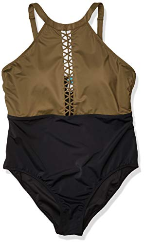 Amazon Brand - Coastal Blue Women's Plus Size Swimwear Color Block Swimsuit with Lattice Detail, Fern/Black, 2X (20W-22W)