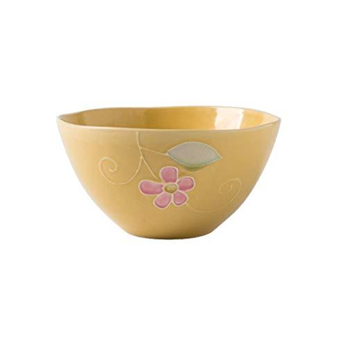 Saladiers Céramique Bowl Irrégulier Ramen Noodle Bowl Bowl Soup Bowl Grand Fruit Saladier Art de la Table électroni (Color : Yellow)