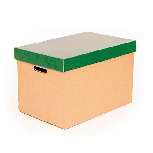 Kartox | Cajas de almacenamiento con tapa verde mate | Cajas para mudanza y almacenaje de cartón con asas | Cajas se cartón muy resistente |53.2x33.1x32.5 (largo x ancho x alto) en cm | 2 Unidades