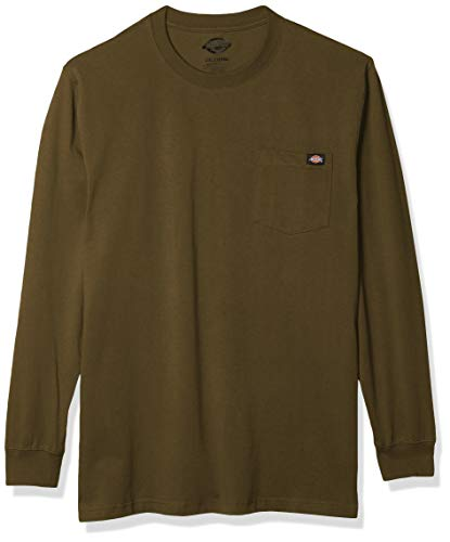 Dickies Men's Big & Tall Long Sleeve Heavyweight Crew Neck Big and Tall, Military Green, 4X-Large