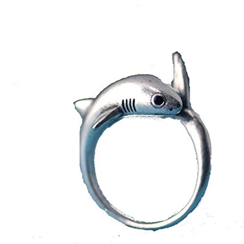 Fliyeong - Anillo de metal con forma de tiburón ajustable, estilo vintage, para hombre y mujer, diseño elegante y popular