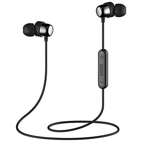 Bluetooth In-Ear Sport Kopfhörer HAVIT V4.2 IPX5 Stereo magnetischer Sport Ohrhörer mit 7-10 Stunden Spielzeit, eingebautes Mikrofon (I39,Schwarz)