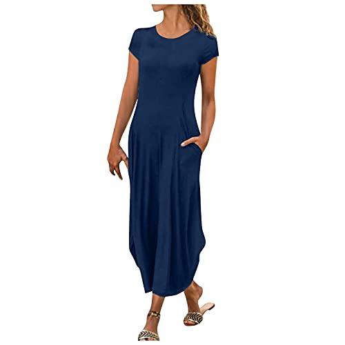 Damen Sommer Minikleid Tiefer V-Ausschnitt Sommerkleid Knopfkleid Knielanges Kurz Rock Minikleider Party Strandkleid Slim Kleider Elegant...