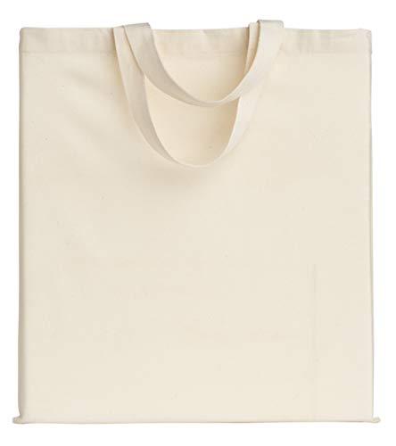 POLHIM® Bolsa Tela 100% Algodón Biodegradable, Reutilizable-Asas Cortas de 35 cm.para Ropa,Manualidades,Alimentos,Verduras, IR de Paseo y Uso Diario, 38x42cm,145gr/m2, Natural