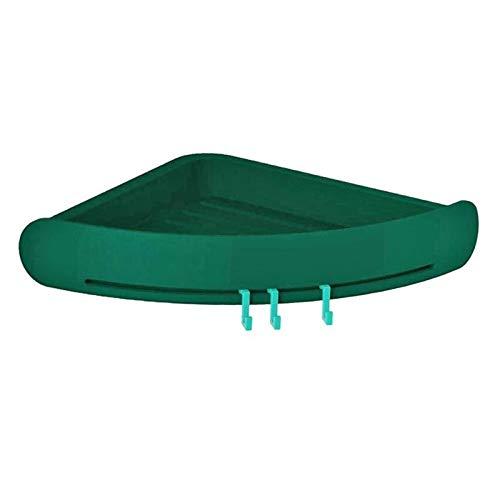 Voor toiletshampoo dorm en keuken corner badkamer plank douche-shampoo, zeep driehoek rek cosmetische opslag-organisator wandhouder badkamer plank planken groen (army green)