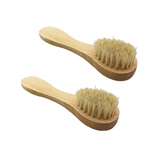 2 pcs nettoyant Le Visage Brosse Manuelle Brosse Brosse Poils Doux poignée en Bois pour Laver l'exfoliation de Pores Profonds