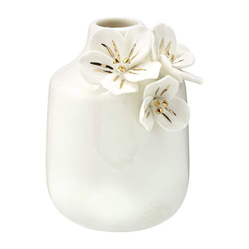GreenGate Vase Anemone White w/Gold small H:11,5cm