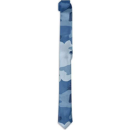 Heren Mode Nieuwigheid Oorzaak Kostuum Accessoire Leger Camouflage Print Blauwe Tie Necktie Skinny Necktie voor Bruiloft Diner Party