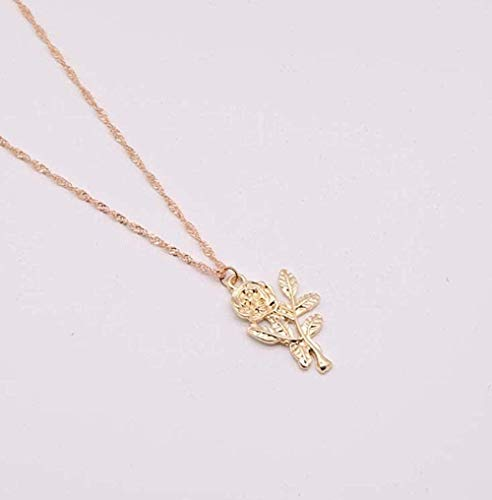 NC110 Collar con Colgante de Flor Rosa para Mujer, Collares Vintage de Planta, joyería con dijes, Regalos para Fiestas YUAHJIGE